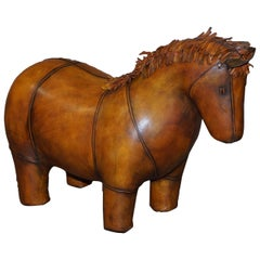 New Old Stock Liberty's London Omersa Style Brown Leather Footstool Pony Horse