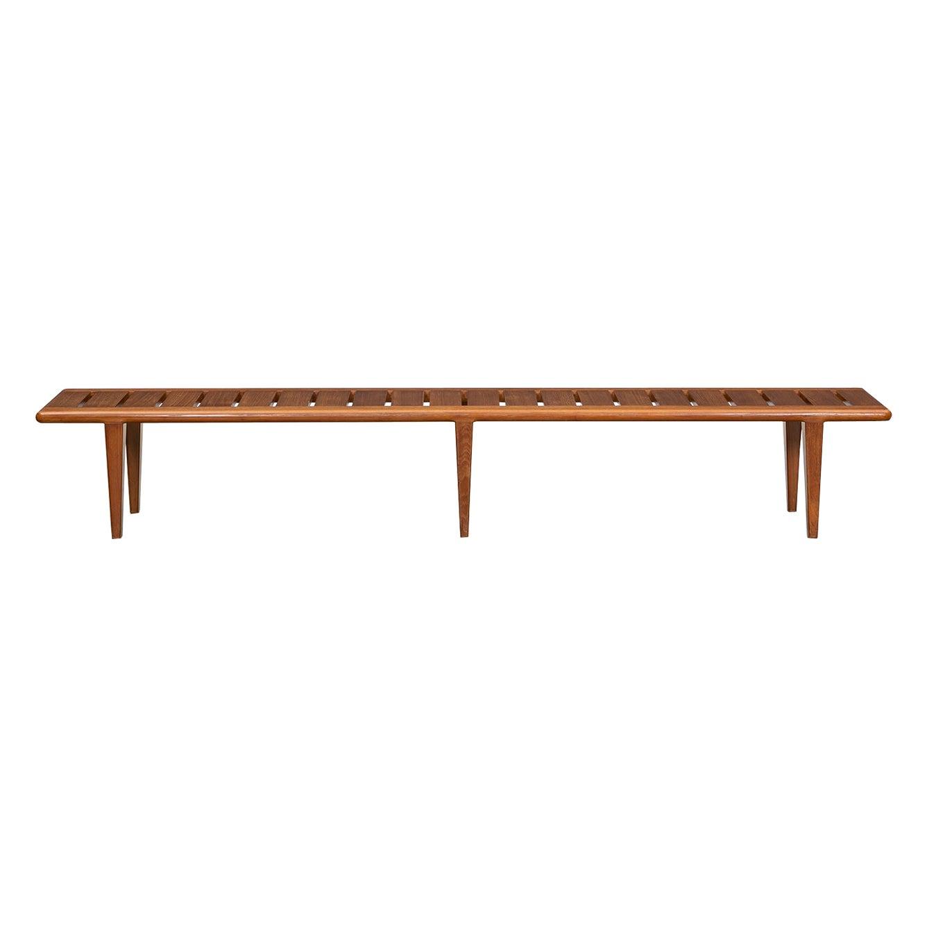 1950s Brown Teak Bench by Hans Wegner
