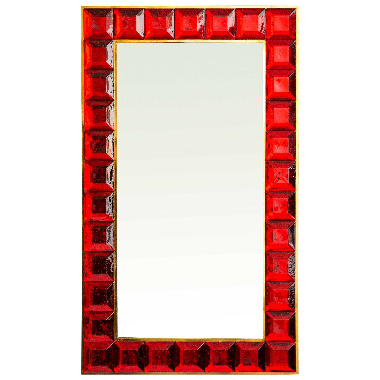 Contemporary Red Diamond Murano Glass Mirror, in Stock