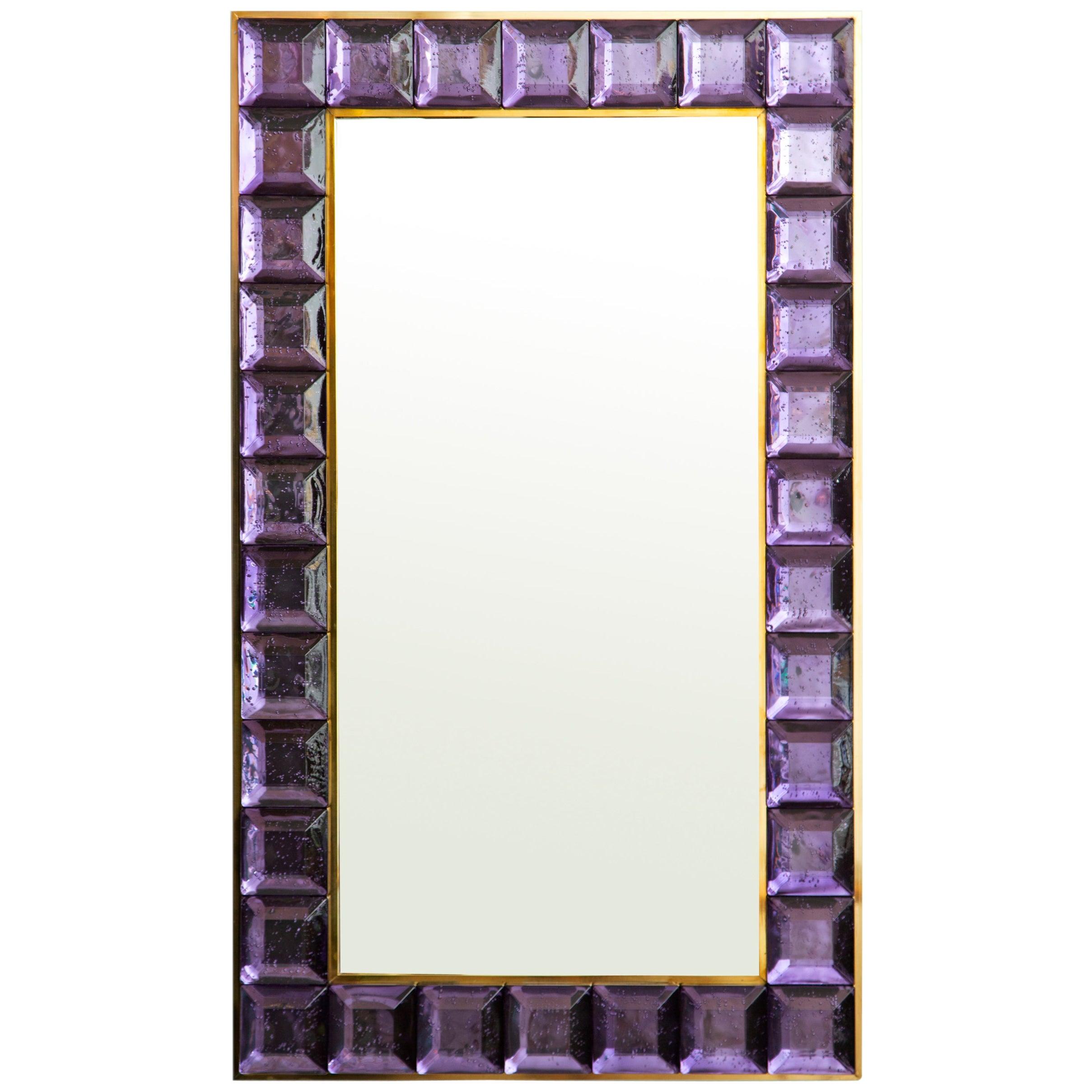 Contemporary Amethyst Diamond Murano Glass Mirror, in Stock