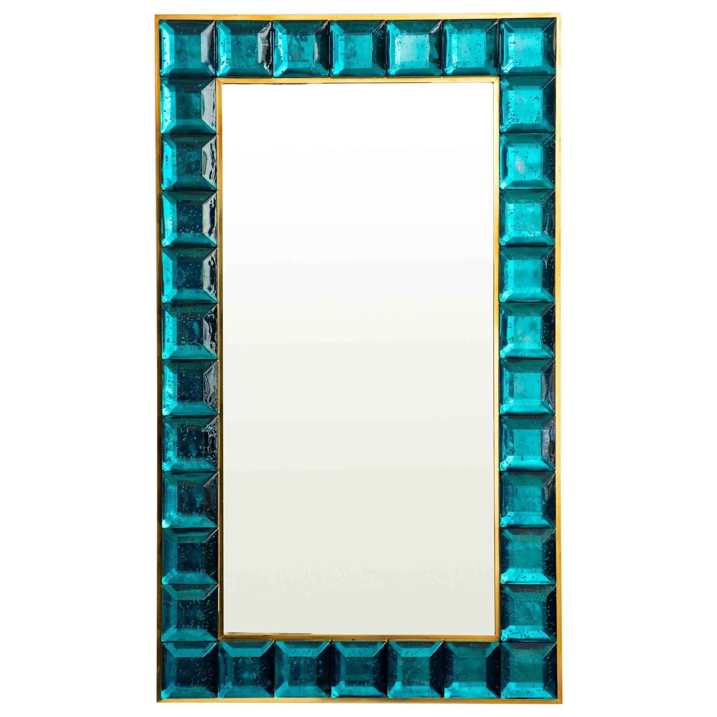 Contemporary Aqua Marine Diamond Murano Glass Mirror, in Stock