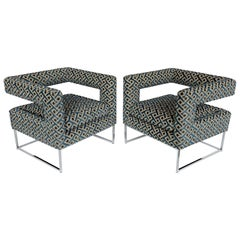 Pair of Milo Baughman Open Back Lounge Chairs in Pierre Frey