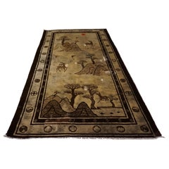 1920s Tibetan Hand Knotted Deer and Seasons Rug Symbolism Sepia Tone Red Sun