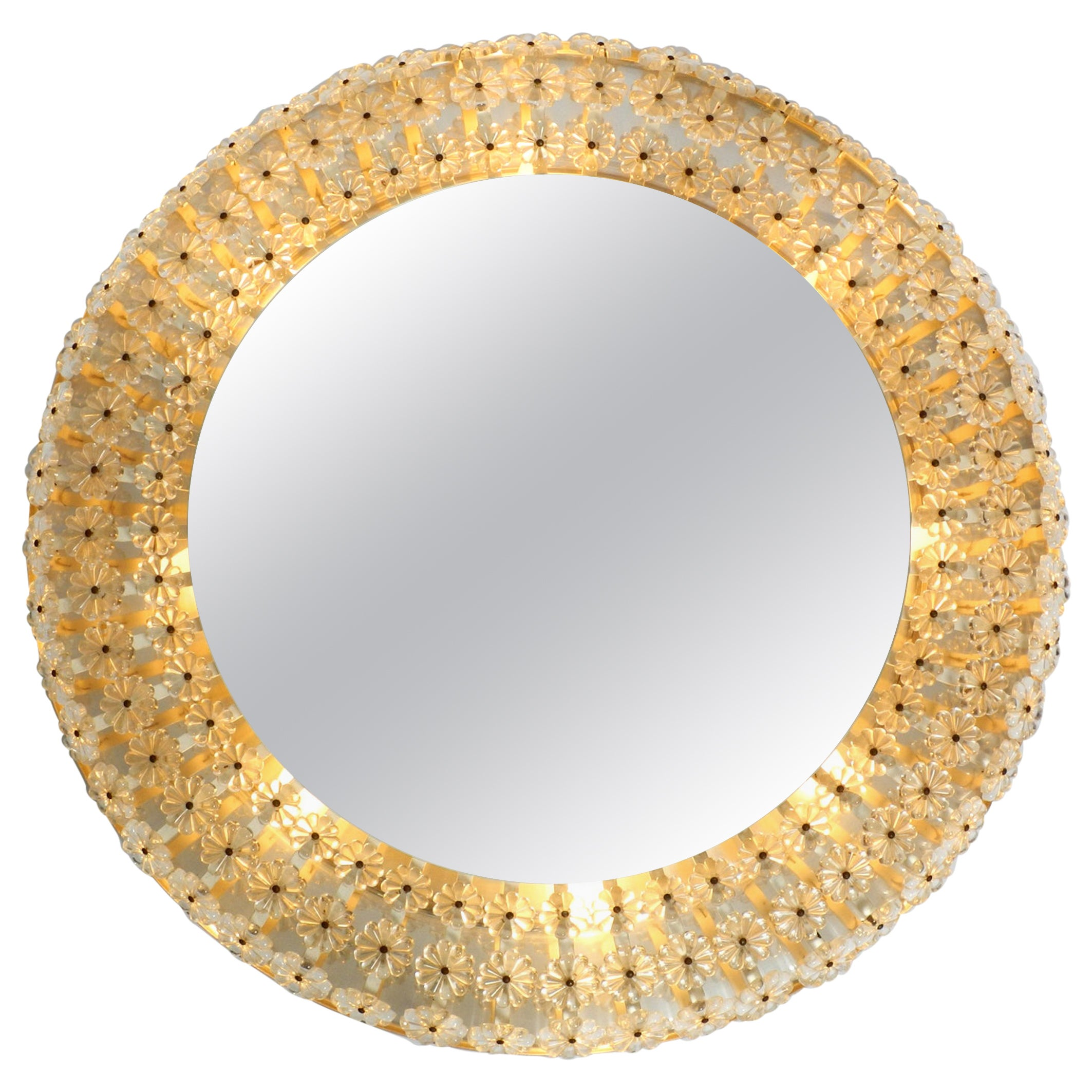 XXL Midcentury Wall Mirror Illuminated with Real Glass Stones by Schöninger