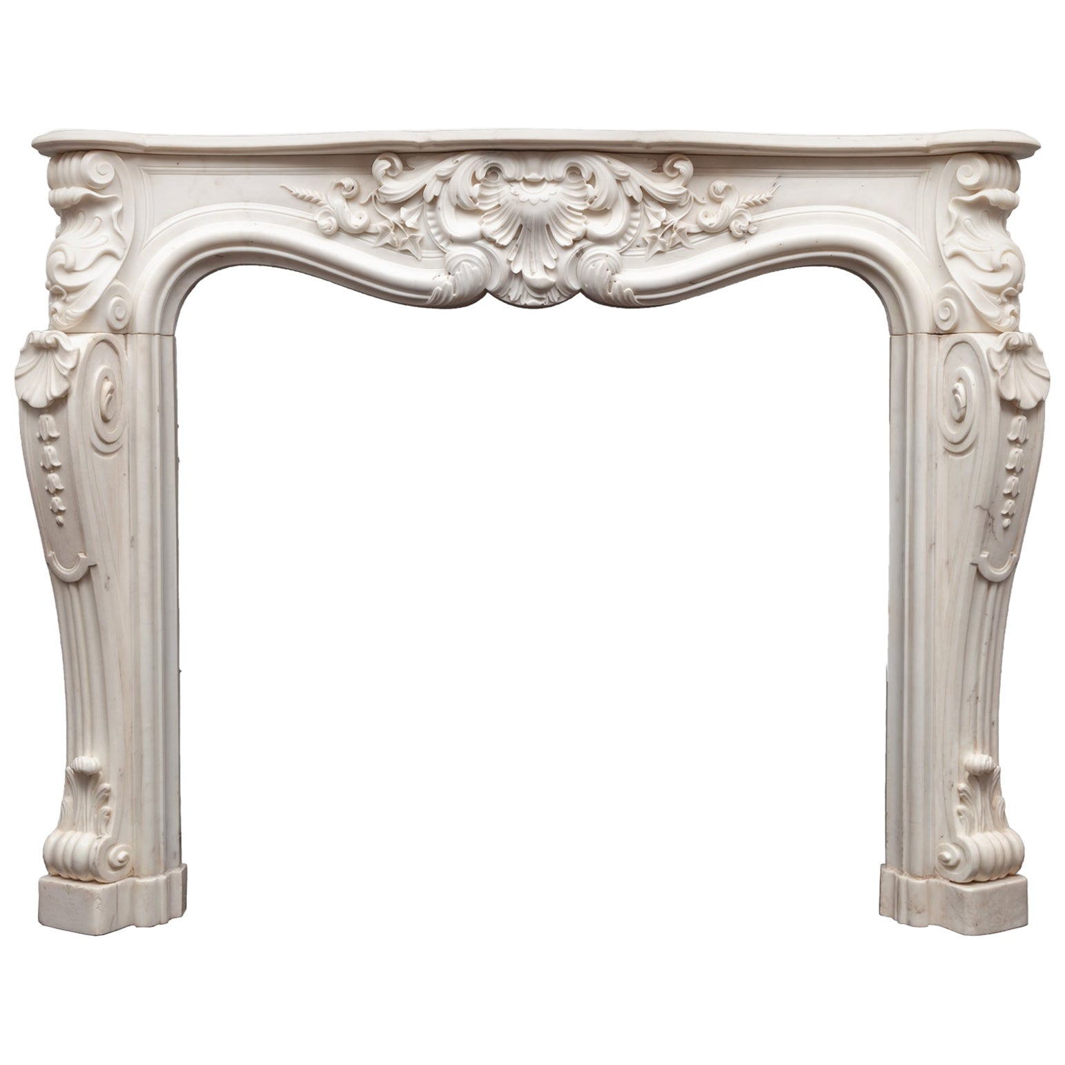 Antique Rococo Style Statuary Marble Mantel