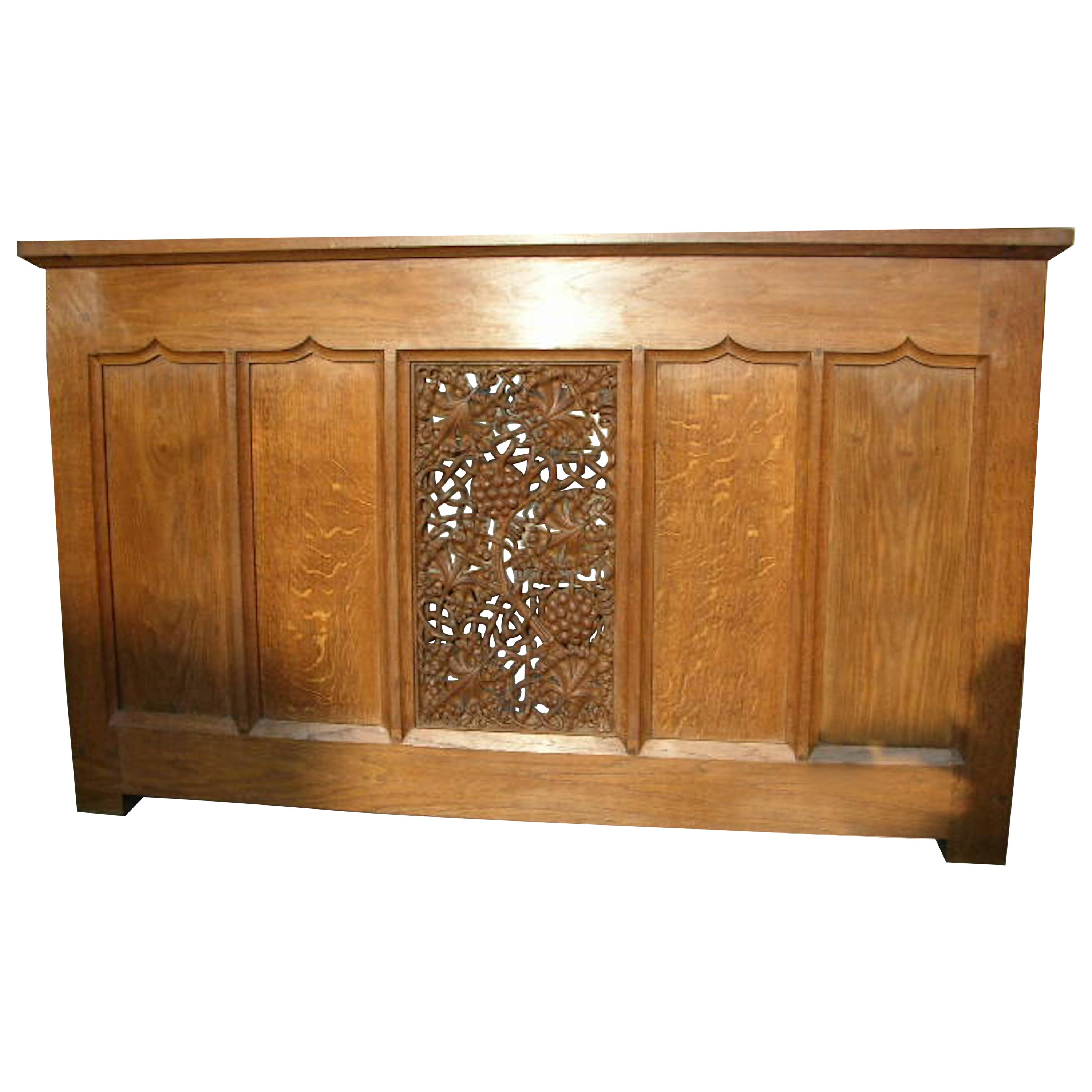 Arts & Crafts Oak Server Alta Table with a Finely Carved Centre Panel of Vines