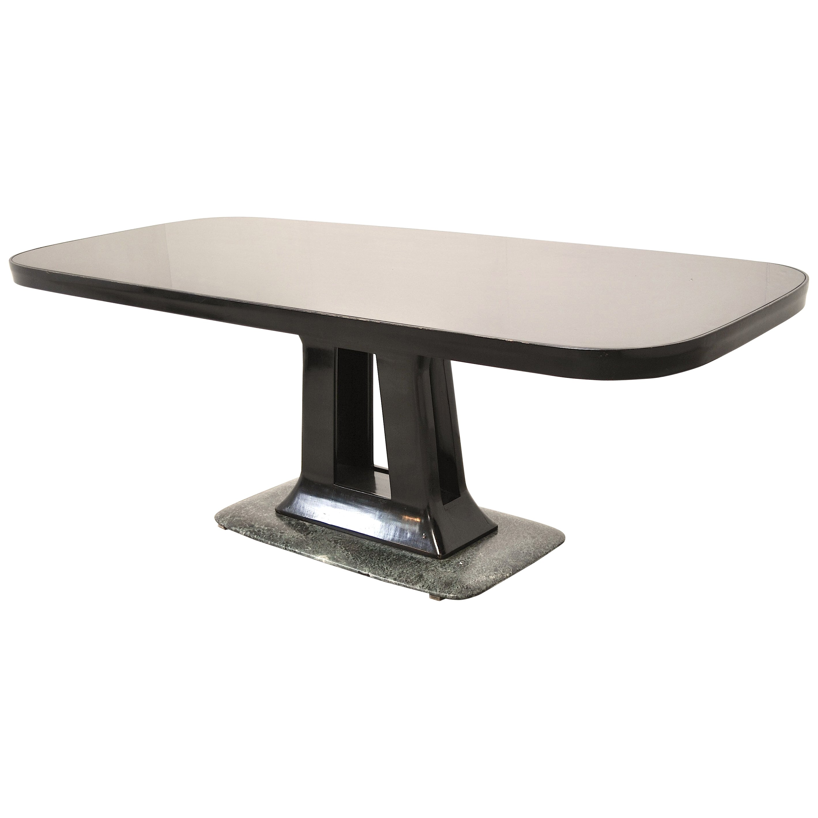 Vittorio Dassi Italian Art Deco Dining Table with Marble Base, 1940s