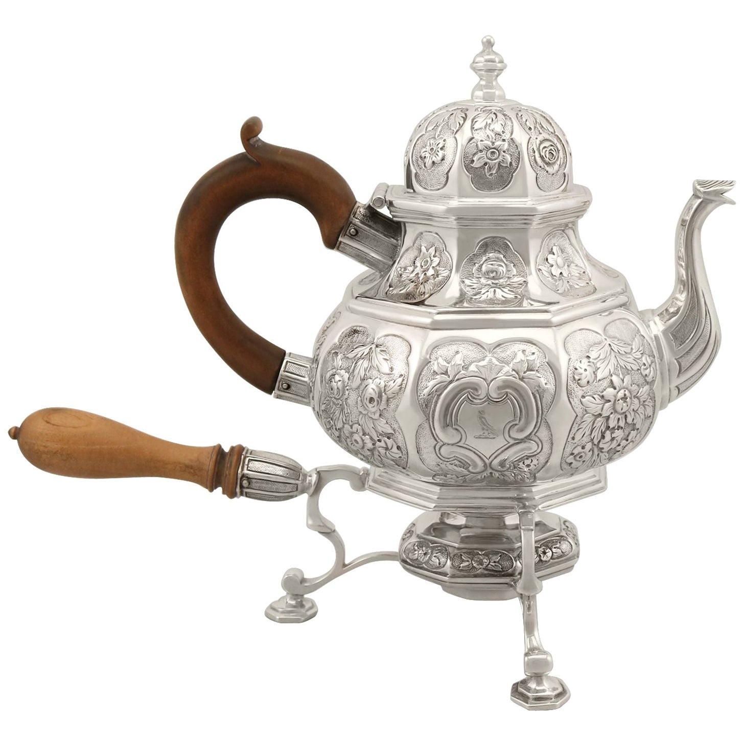Antique Georgian Sterling Silver Teapot with Spirit Burner