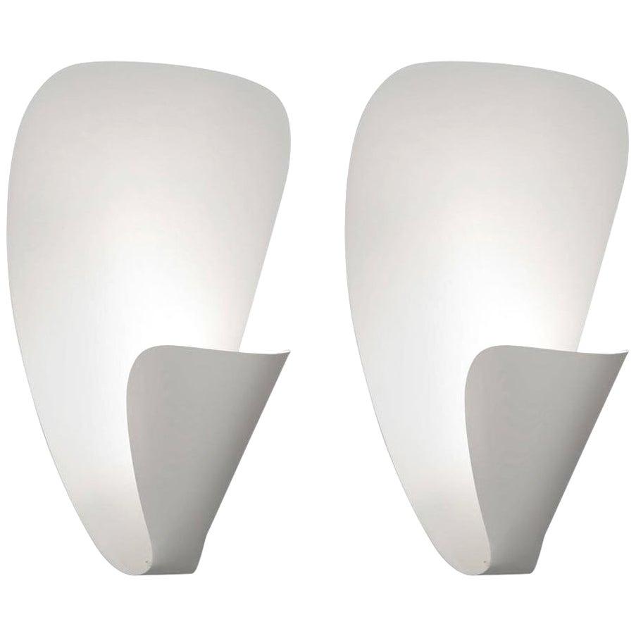 Michel Buffet Mid-Century Modern White B206 Wall Sconce Lamp Set