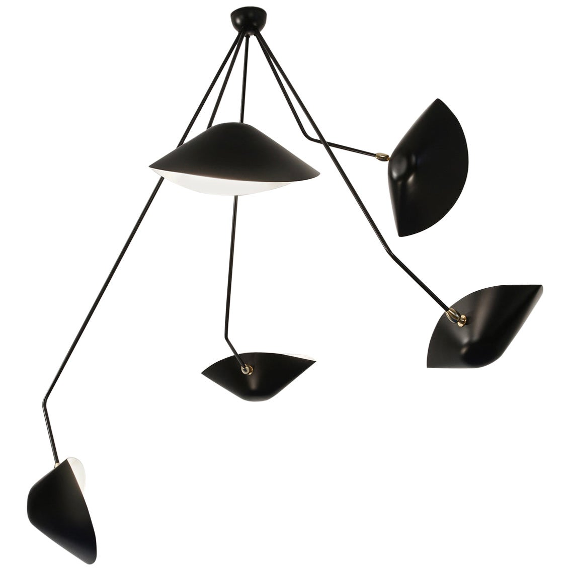 Serge Mouille Modern Black Five Curved Fixed Arms Spider Ceiling Lamp