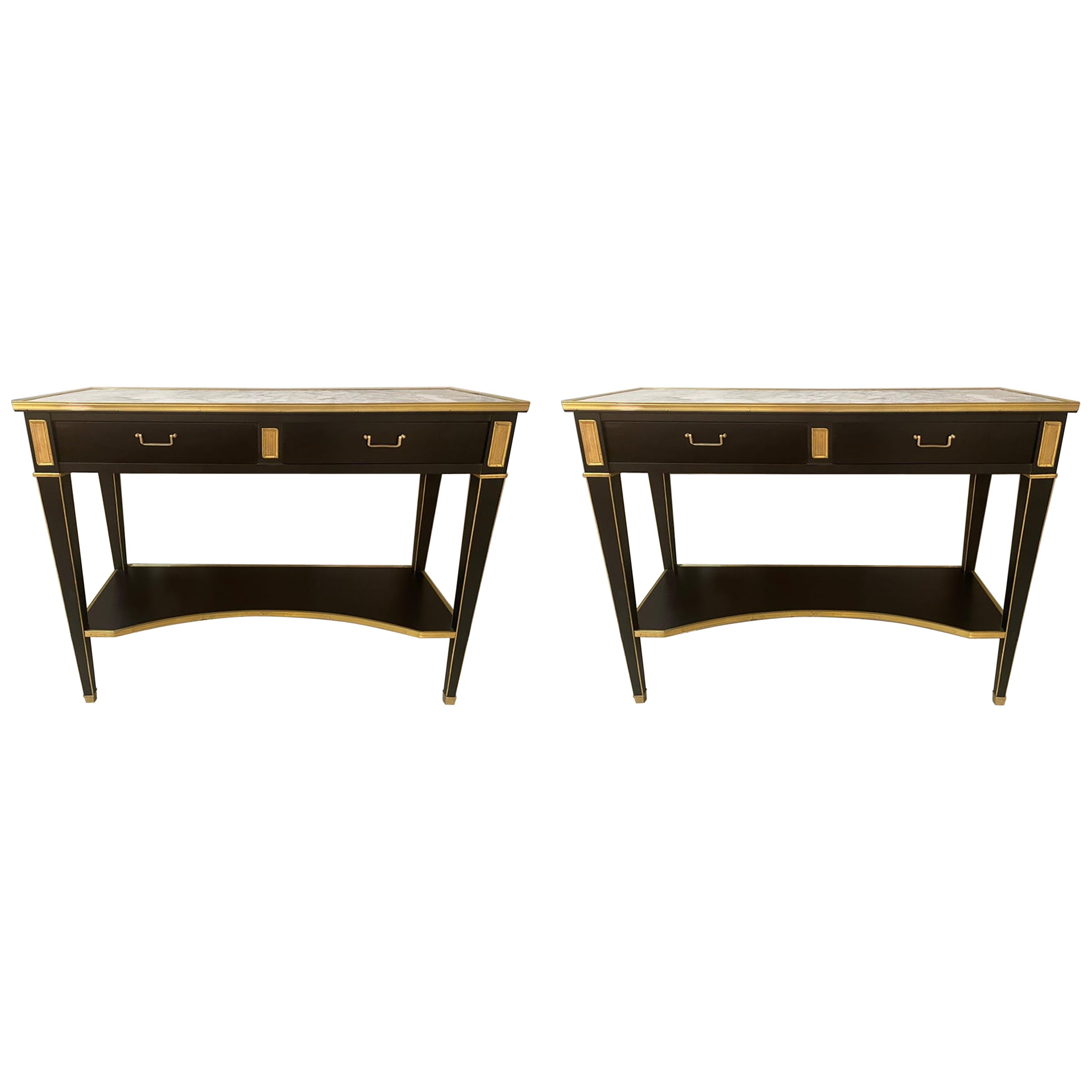 Pair of Hollywood Regency Neoclassical Ebony Console Tables Manner Jansen