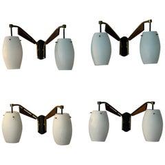 Set of 4 Stilnovo wall lamps