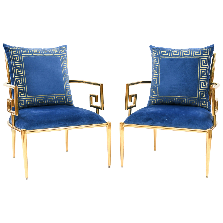 Pair of Mastercraft Polished Brass Greek Key Lounge Chairs, 1970s