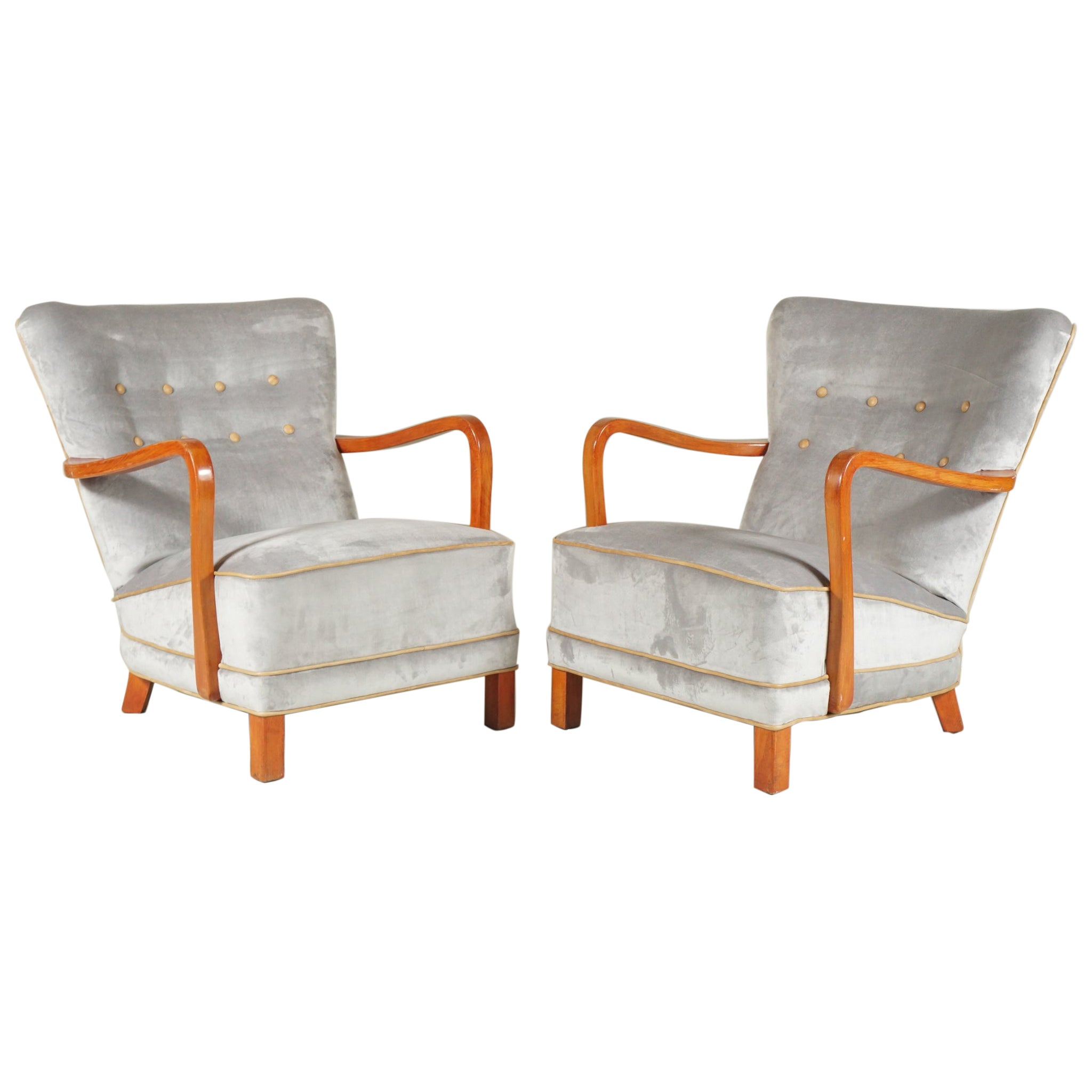 Pair of Gray Armchairs Danish Cabinetmaker