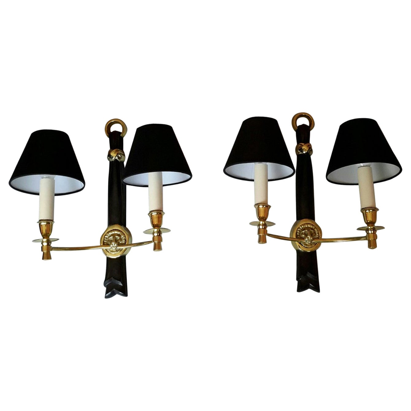 Andre Arbus Neoclassical Sconces, France, 1950