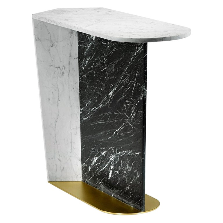Contemporary Side Table, Calacatta Marble and Brass