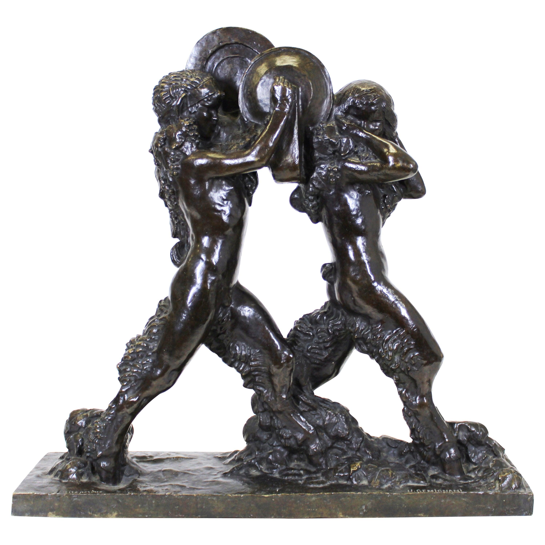 Ulysse Gémignani 'Satyres aux cymbales' Art Deco Bronze Sculpture
