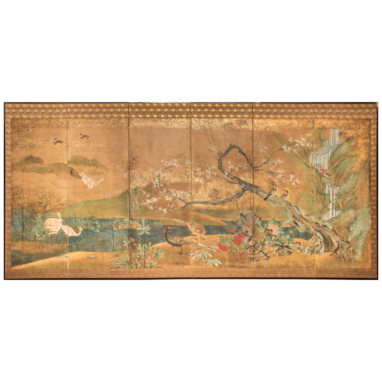 Japanese Six-Panel Screen Waterfall and Cherry in Audubon Landscape