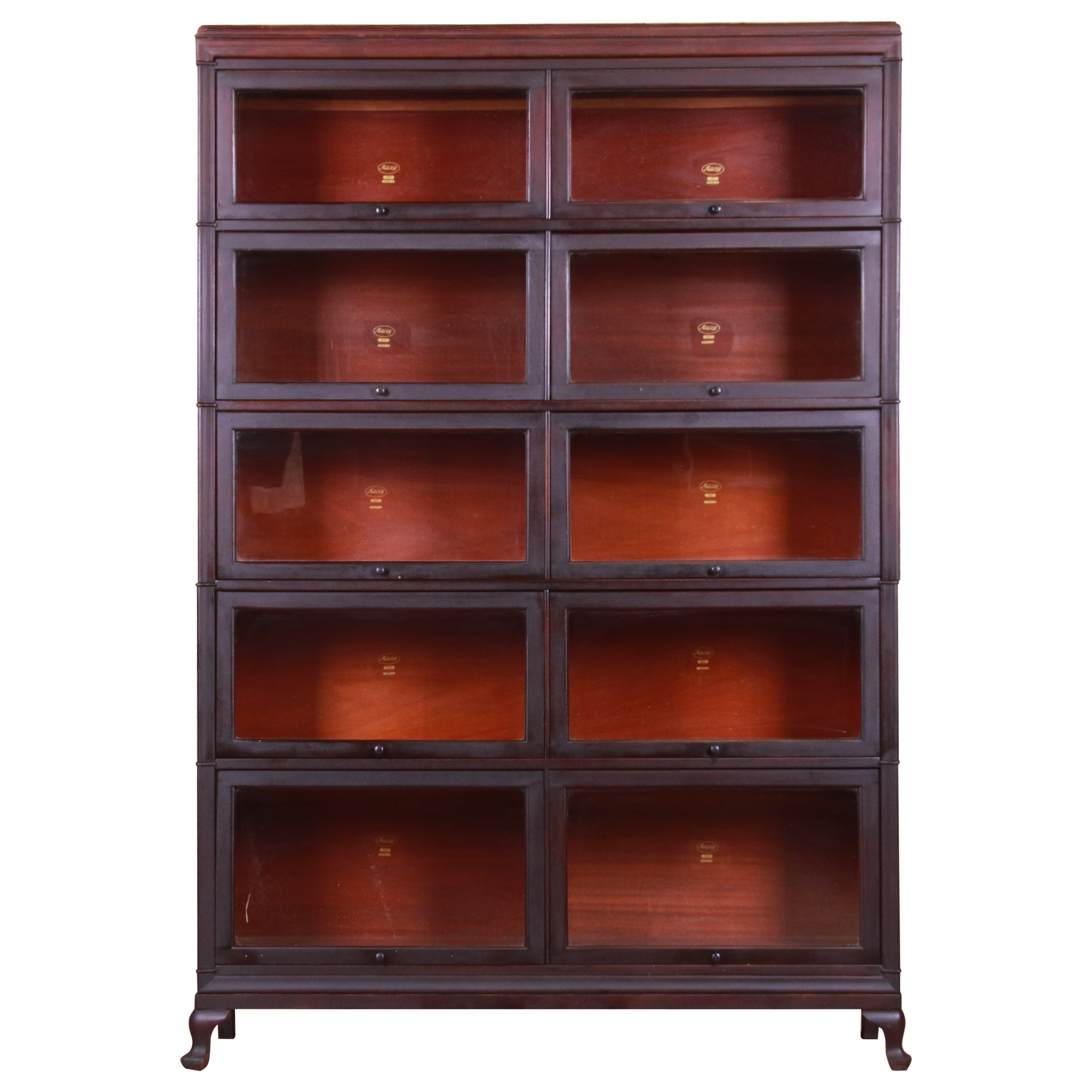 Antique Five Stack Double Barrister Bookcase by Macey, circa 1920s