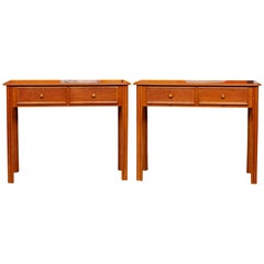 Pair of Writing Desk Tables 2 Fiddleback Mahogany Marquetry