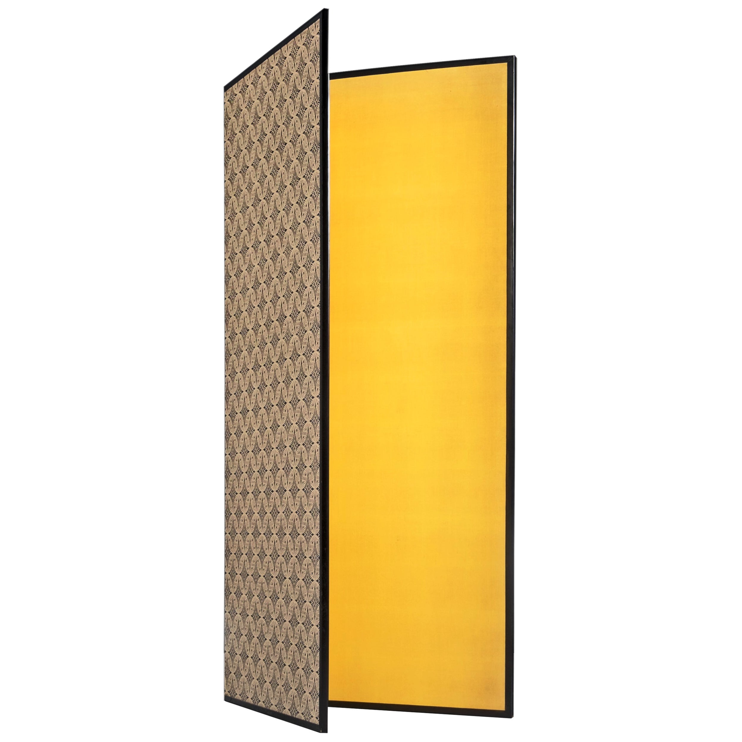 Gold Leaf Room Divider or Screen with Two Panels