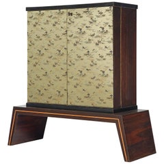 Exquisite Italian Illuminated Dry Bar Cabinet in Japanese Style