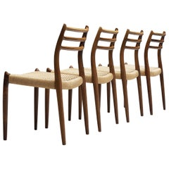 Niels Otto Møller Set of Four Dining Chairs Model 78 in Rosewood and Paper Cord
