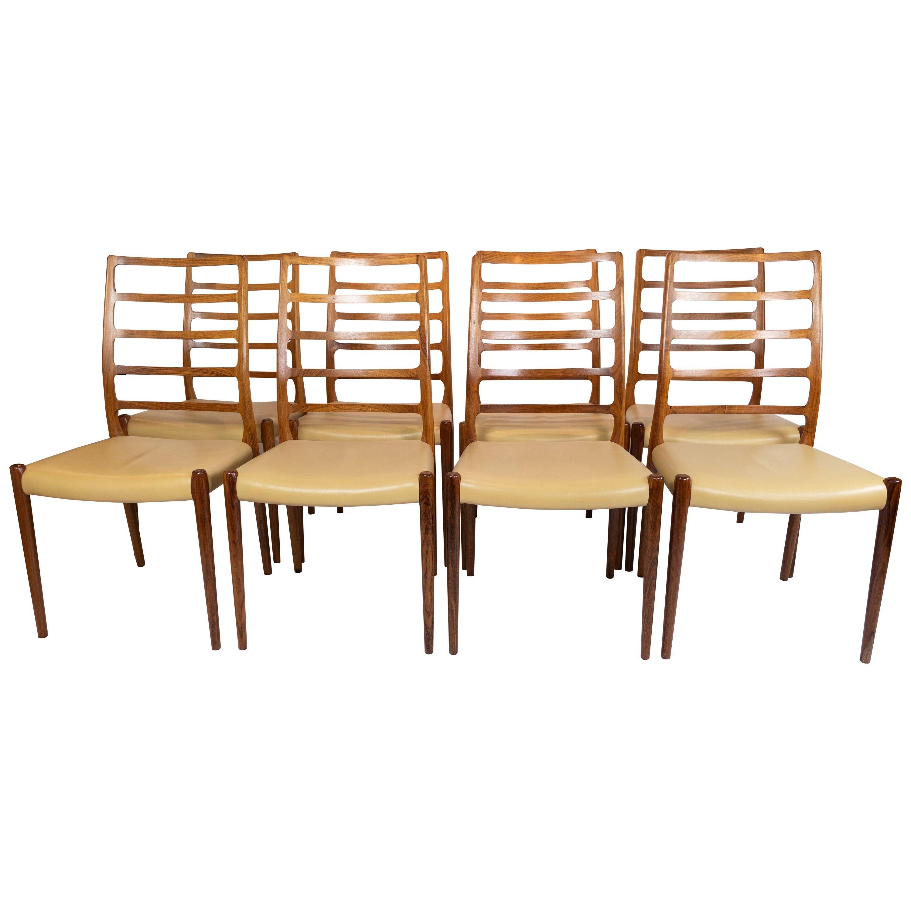 Set of 8 Dining Chairs, Model 82, Designed by N.O. Møller from the 1960s