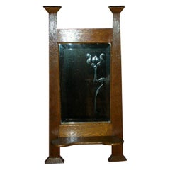 Liberty & Co Attr Arts & Crafts Wall Mirror with an Engraved Flower to the Glass