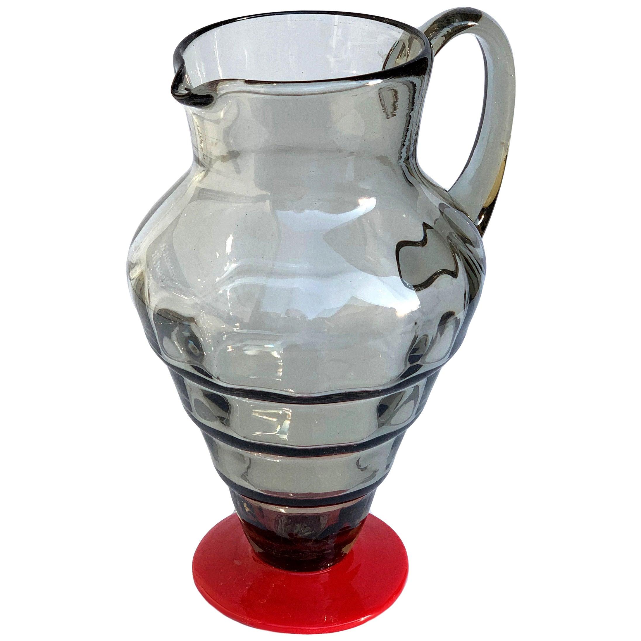 Napoleone Martinuzzi Smoked Glass and Red Glass for Venini Italian Carafe, 1930s