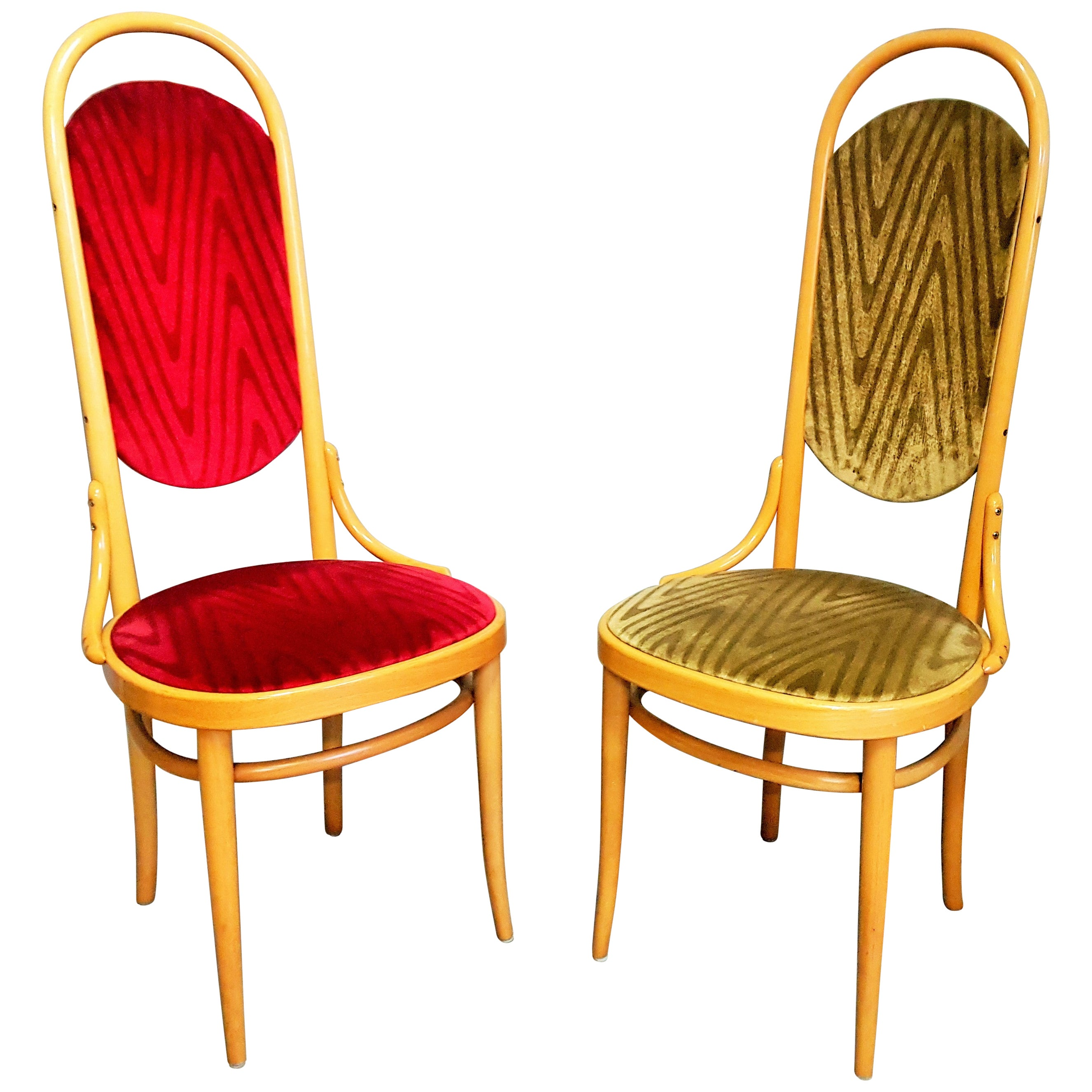 Pair of Bentwood High Back Dining Chairs by Thonet