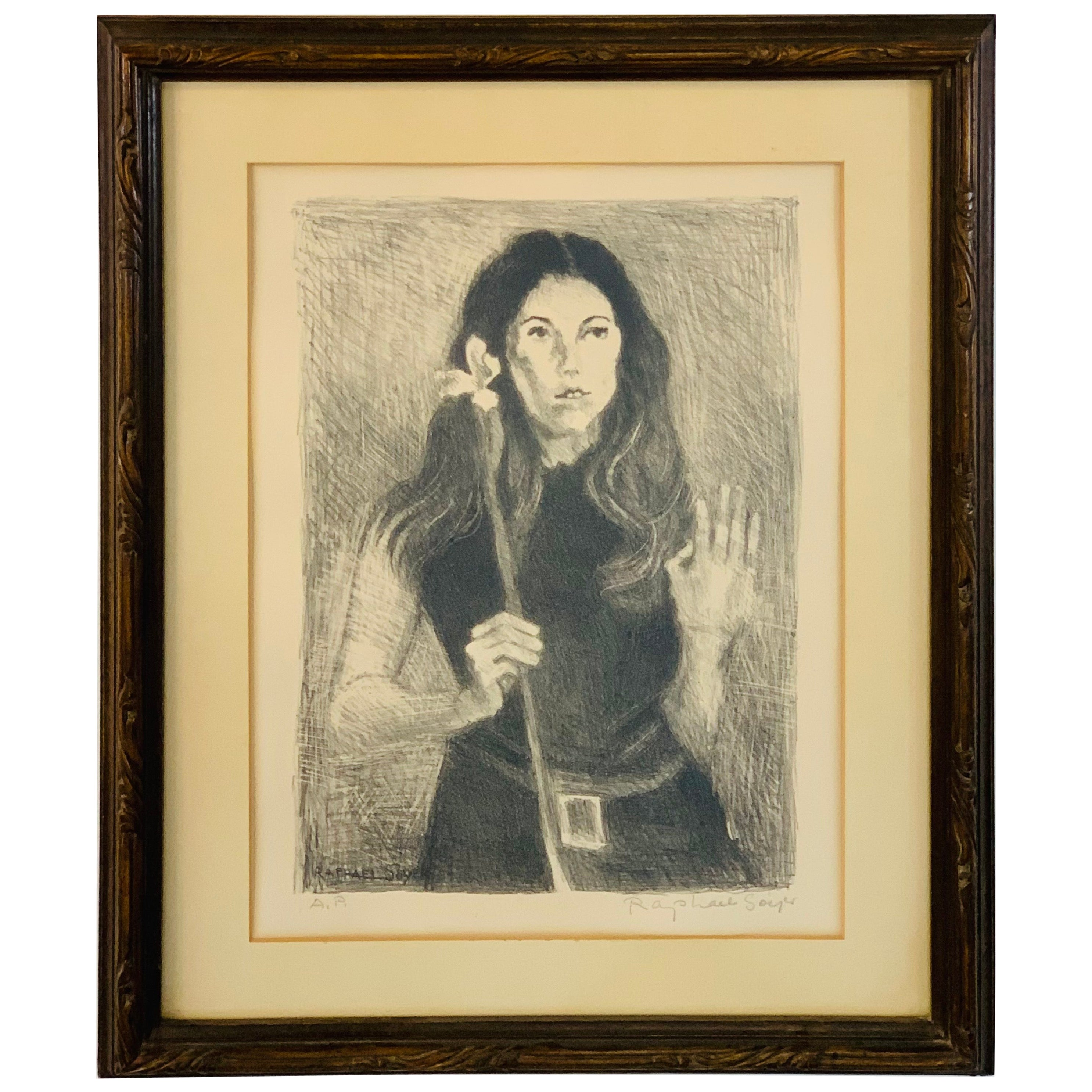 "Raphael Soyer ""Girl Holding Flower"" Lithograph, Signed"