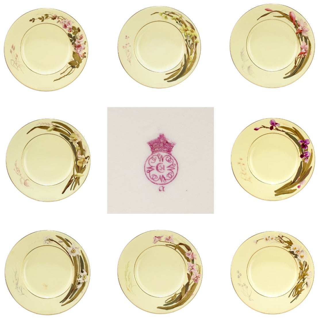 Set of 8 Antique Worcester Porcelain Cabinet Plates with Enamel Flowers