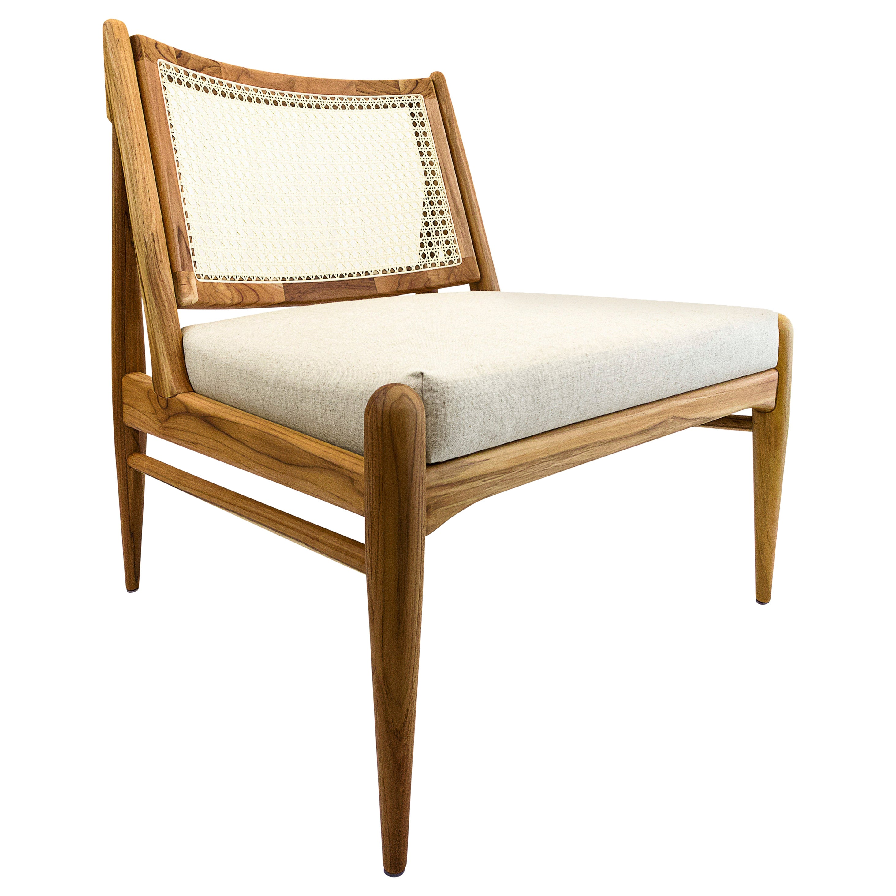 Donna Cane-Back Armchair in Teak Finish with Oatmeal Fabric Seat