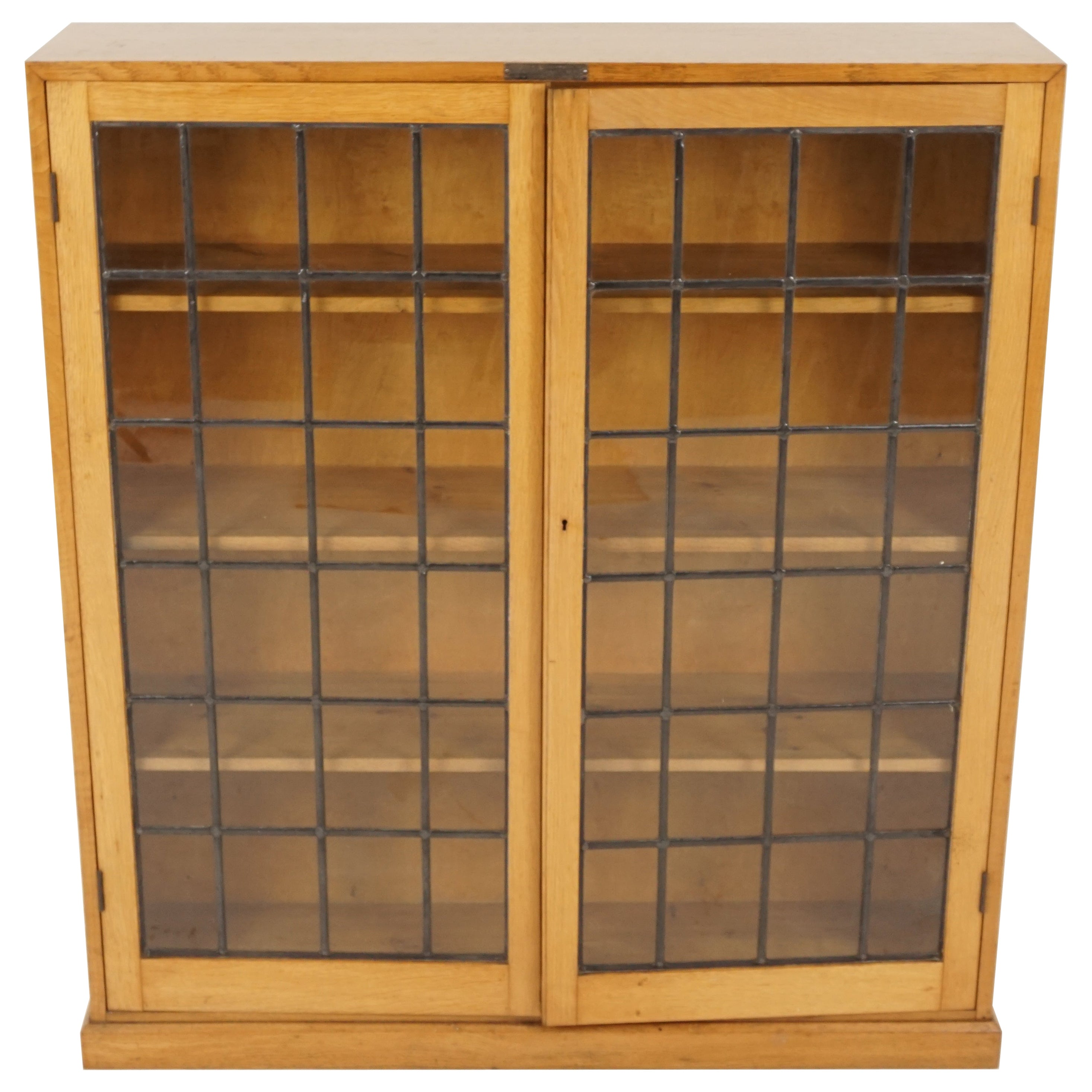 Vintage Golden Oak Bookcase, Leaded Glass Display Cabinet, Scotland 1930, B2239