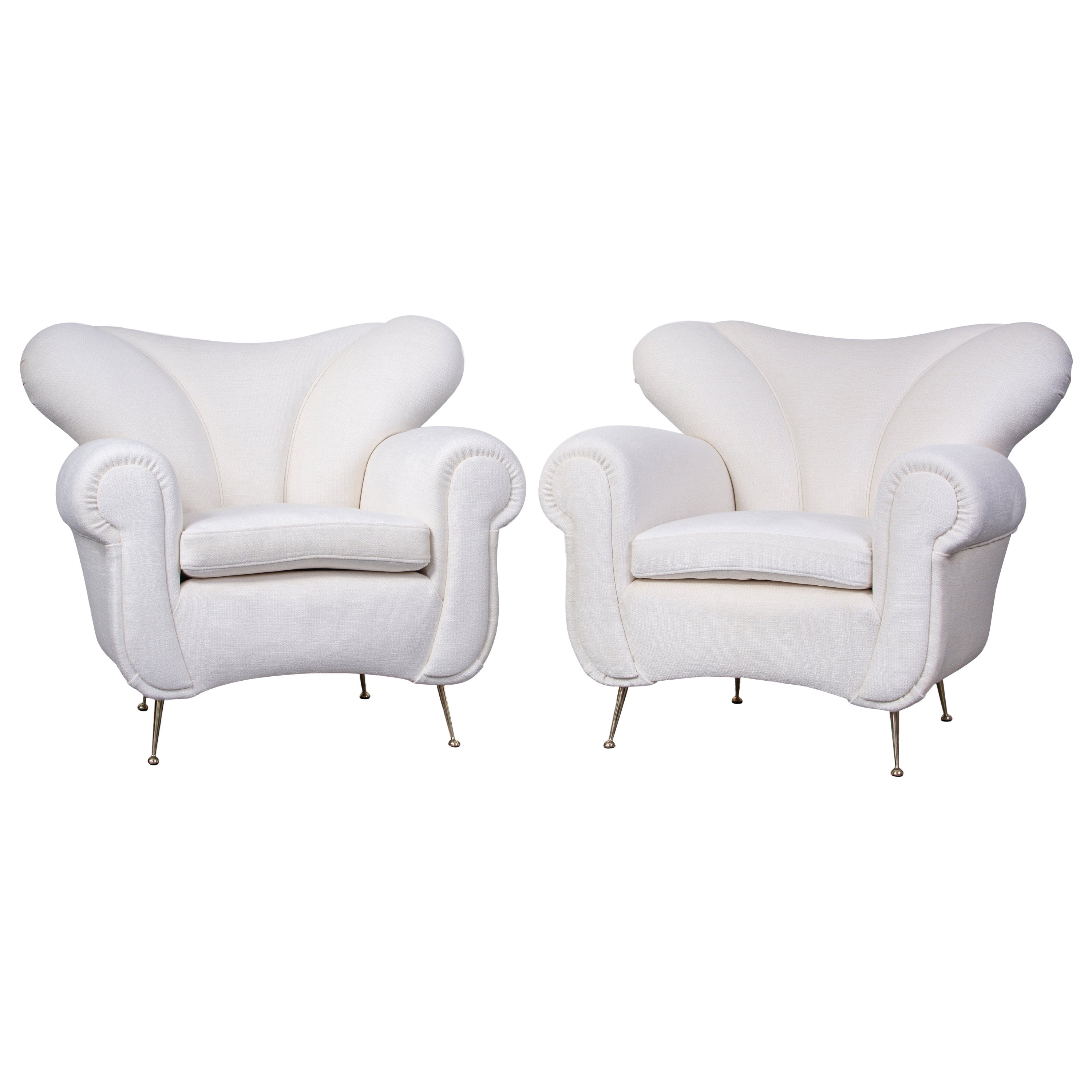 Pair of Mid-Century Armchairs, Italy 1950s, Reupholstered in Pierre Frey Velvet