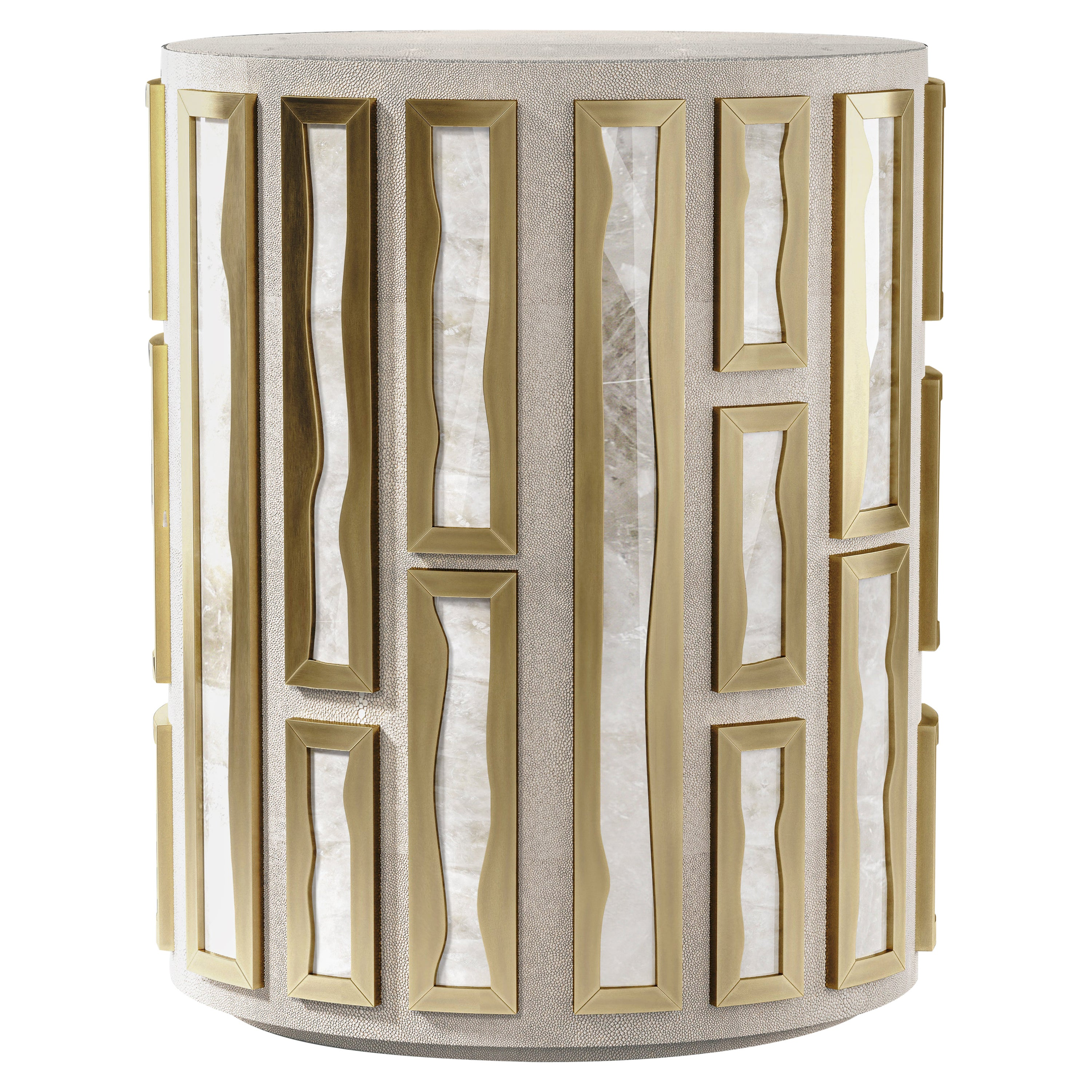 Shagreen Side Table with Quartz and Bronze-Patina Brass Details by R&Y Augousti