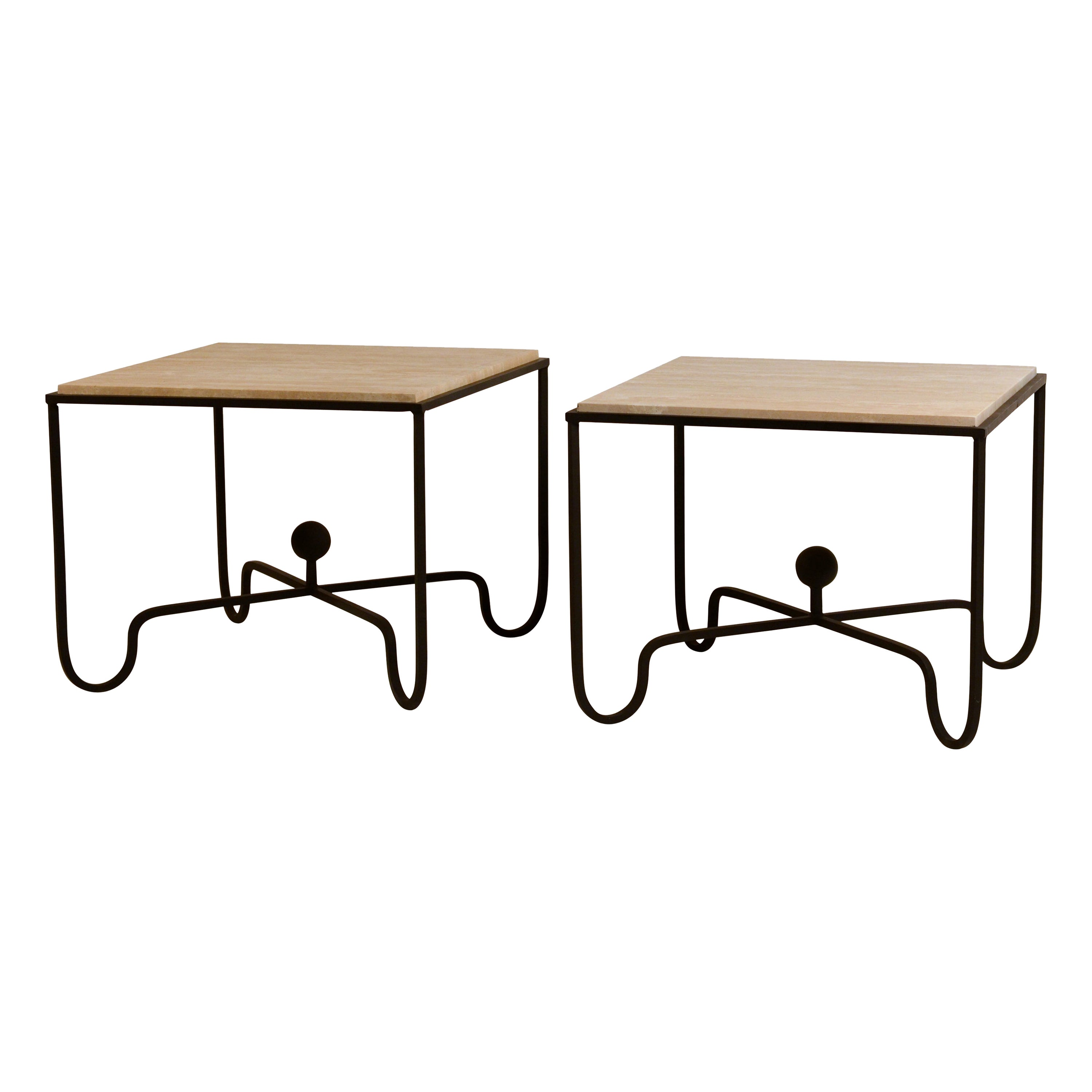 Pair of Large 'Entretoise' Cream Travertine Side Tables by Design Freres