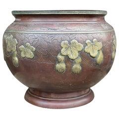 Antique Large Oriental Bronze Jardinières Planter Bowls Meiji, 19th Century