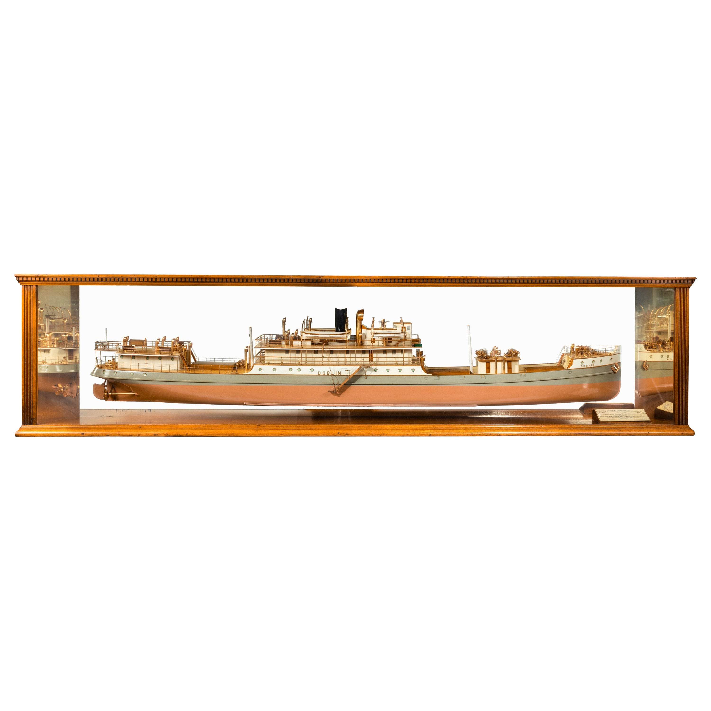 Cased Ship's Boardroom Model of Three Sister Ships