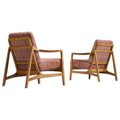 Tove and Edvard Kindt-Larsen Pair of Oak Lounge Chairs with Teak Armrests