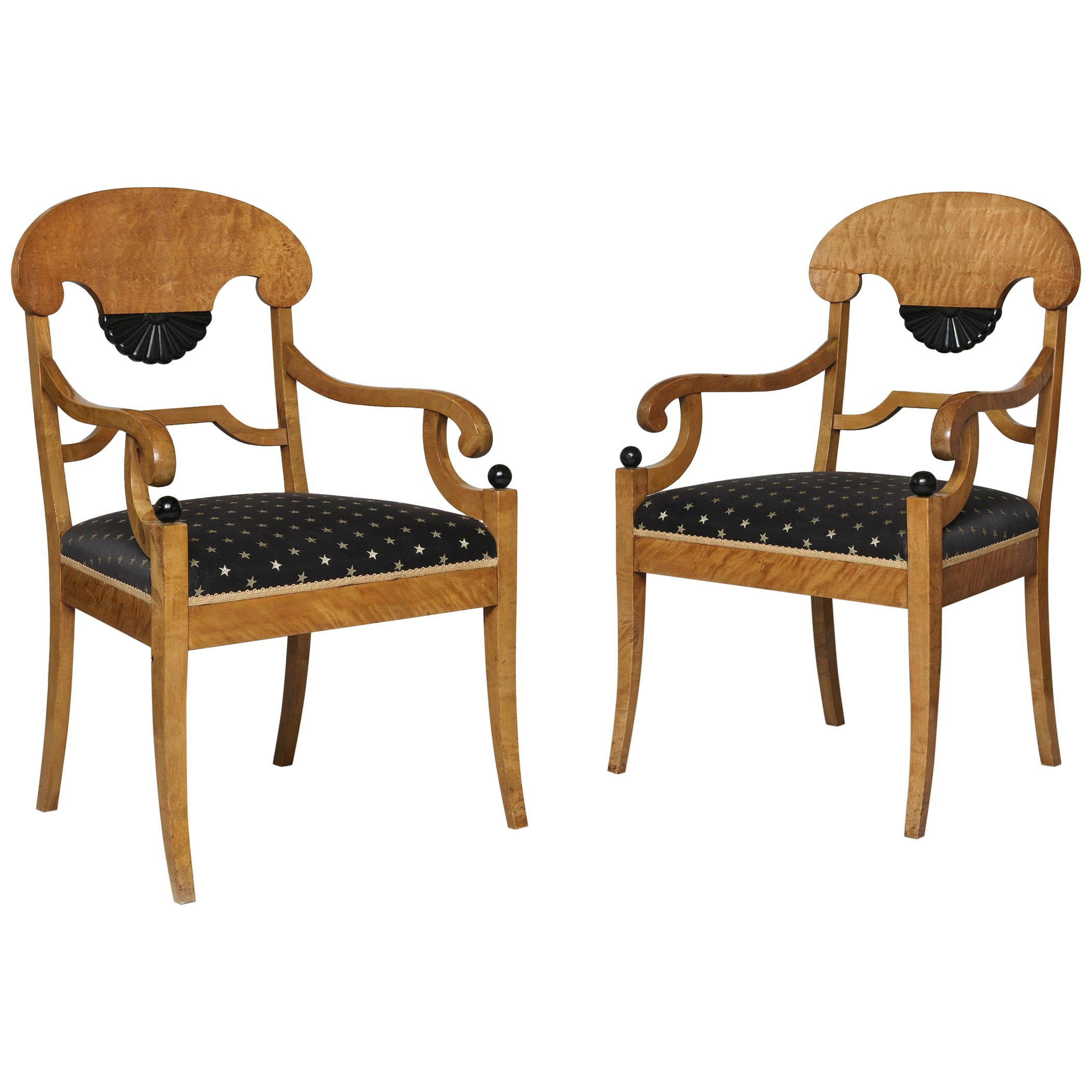 Pair of Biedermeier Style Satin Birchwood and Ebonized Armchairs