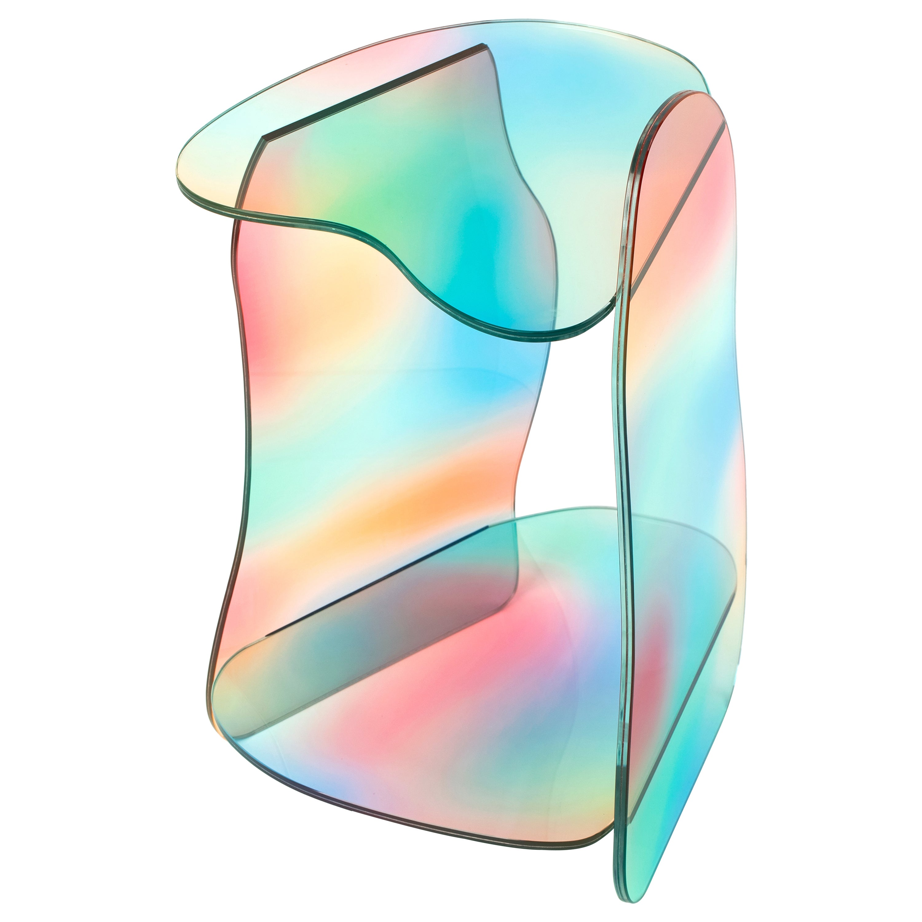 Dolmen Dichroic Glass Side Table Sculpted by Studio-Chacha