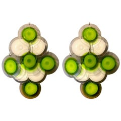 Pair of Green and White Vistosi Disc Murano Glass Sconces or Wall Light, 1970s