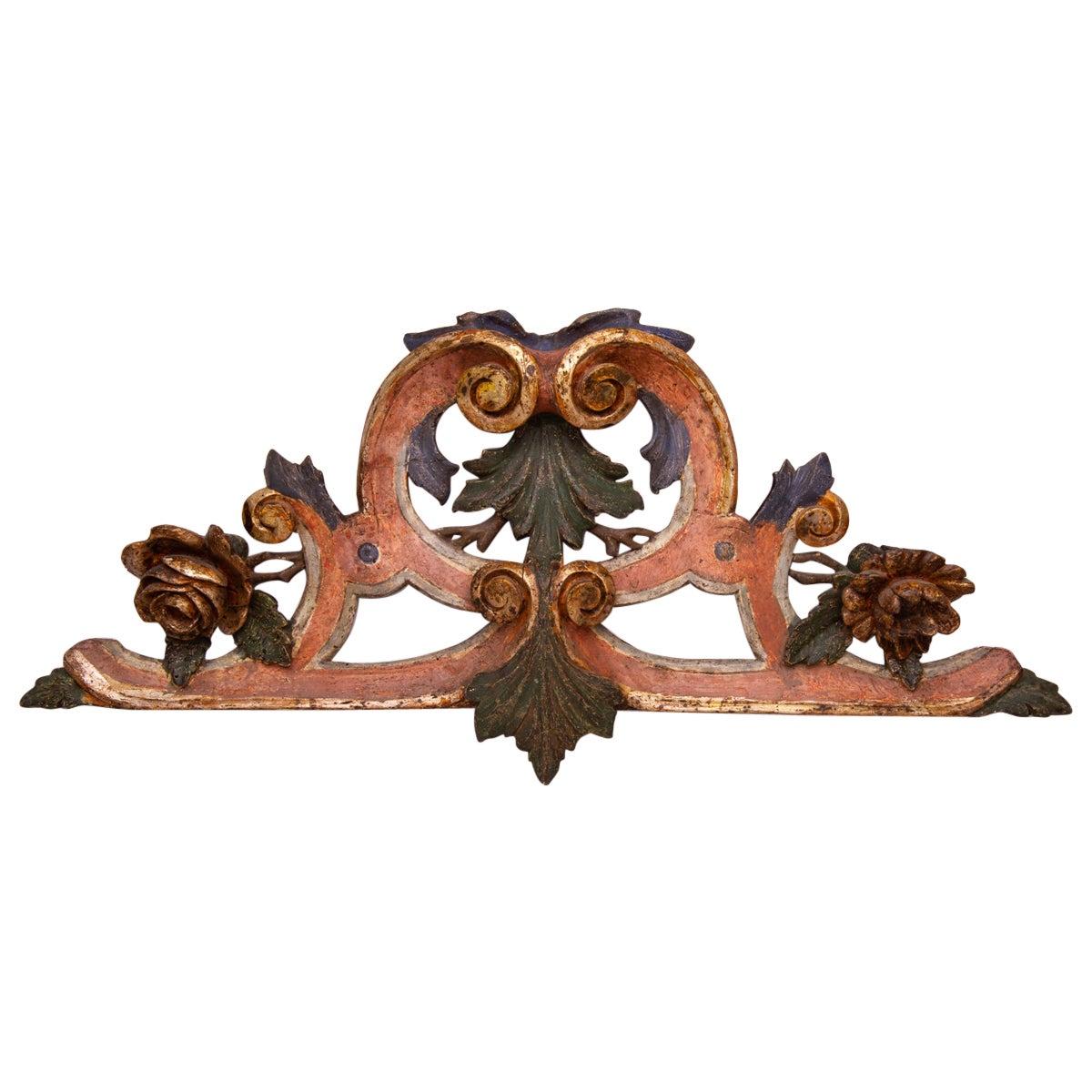 Wooden Antique Garland Overdoor or Over Mirror with Flowers