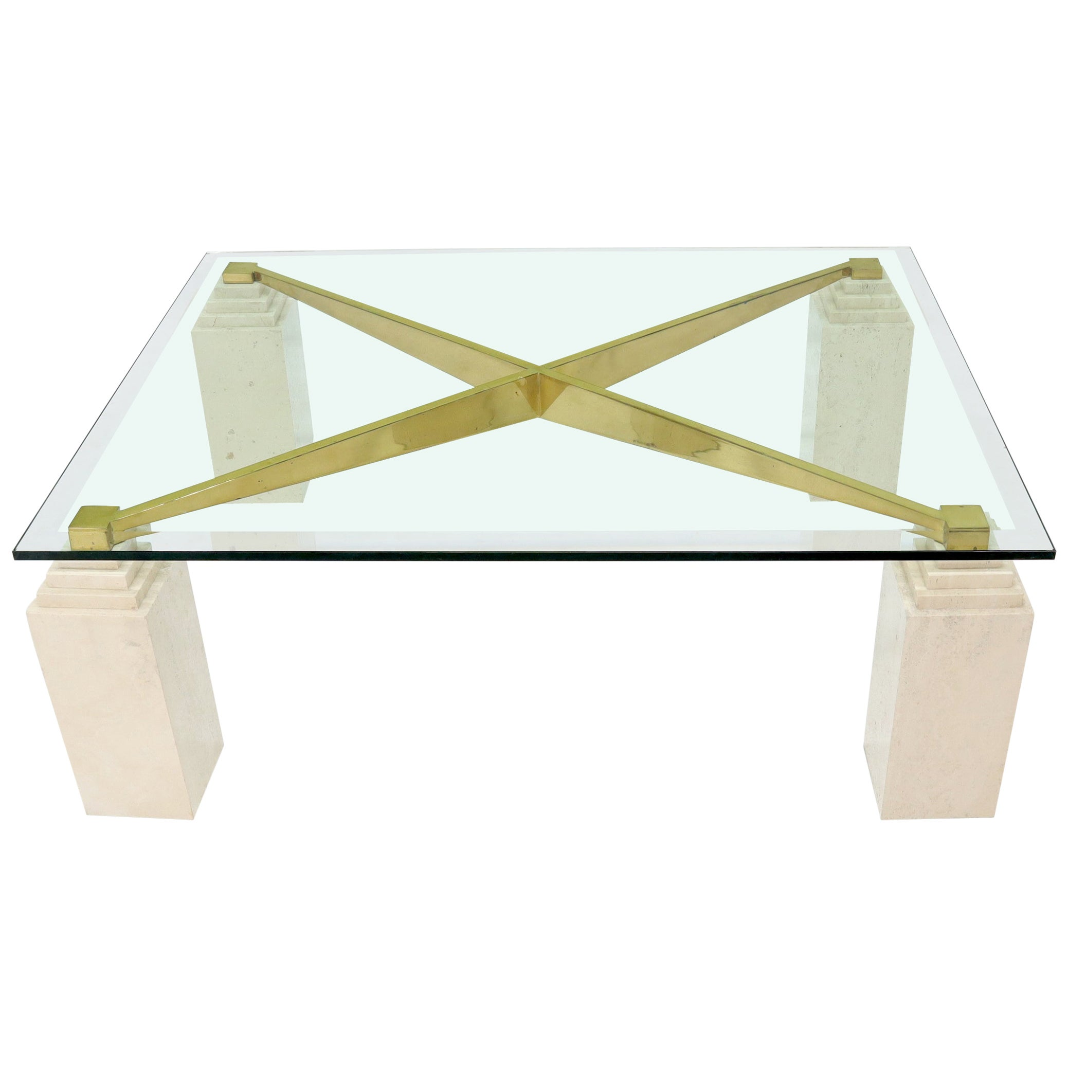 Square Travertine Legs Brass X Shape Base Glass Top Coffee Table