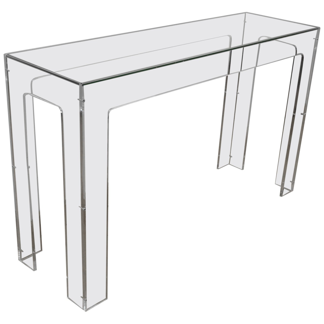 1970s Lucite Console Table with Glass Top