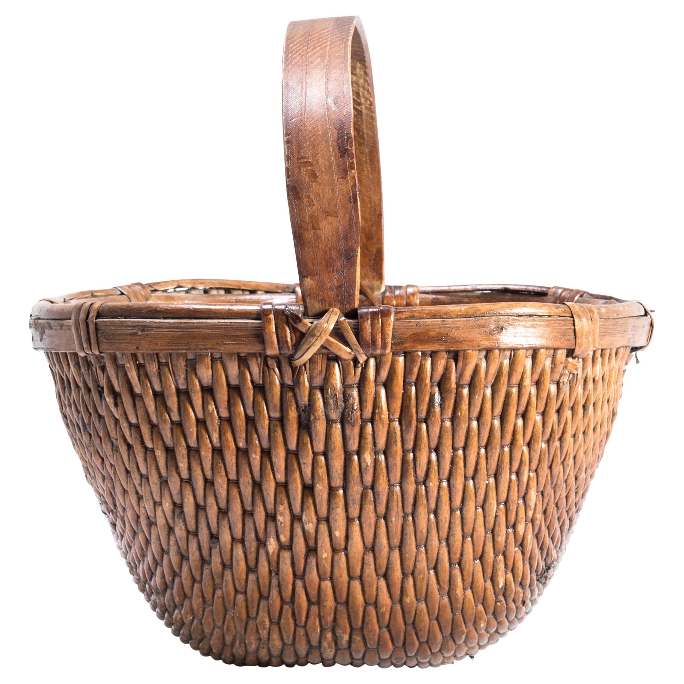 Chinese Willow Market Basket, circa 1900
