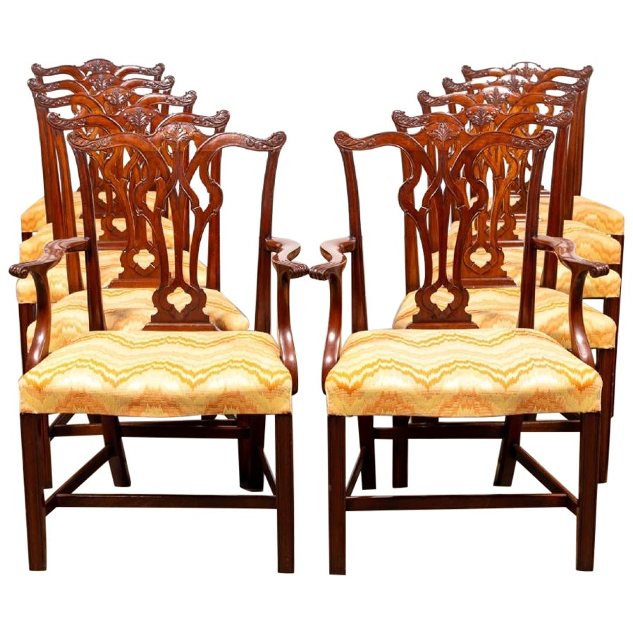 Set of Ten Mahogany Chippendale Style Dining Chairs