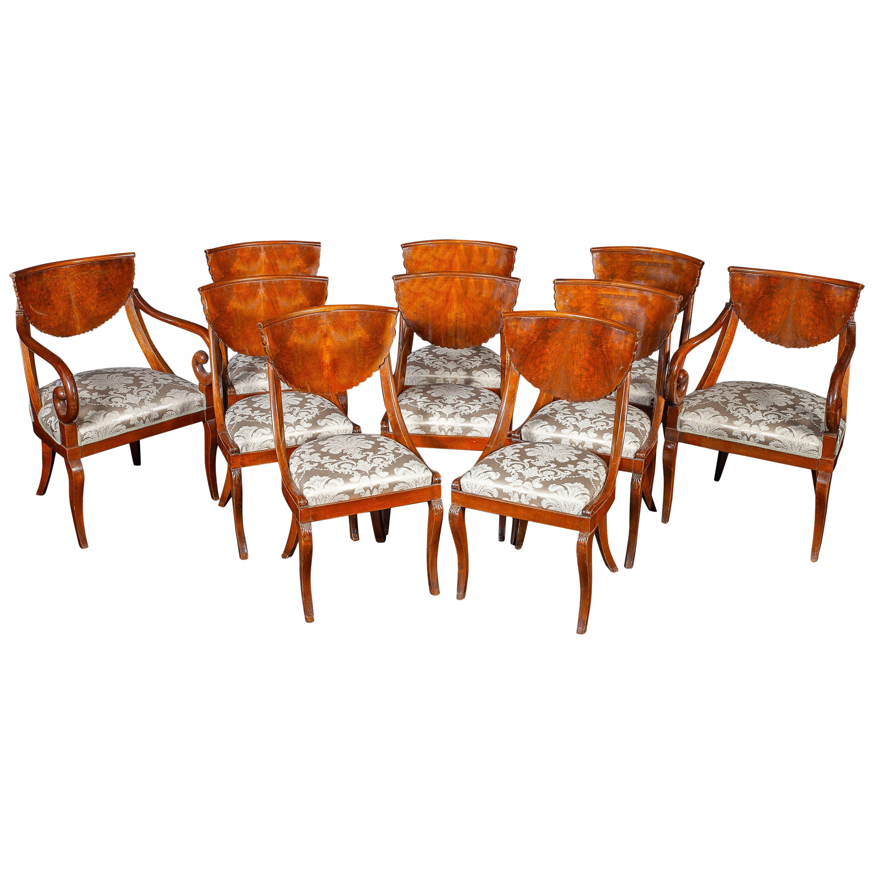 Dining Room Set of Eight Italian Chairs and a Pair of Armchairs, 1790